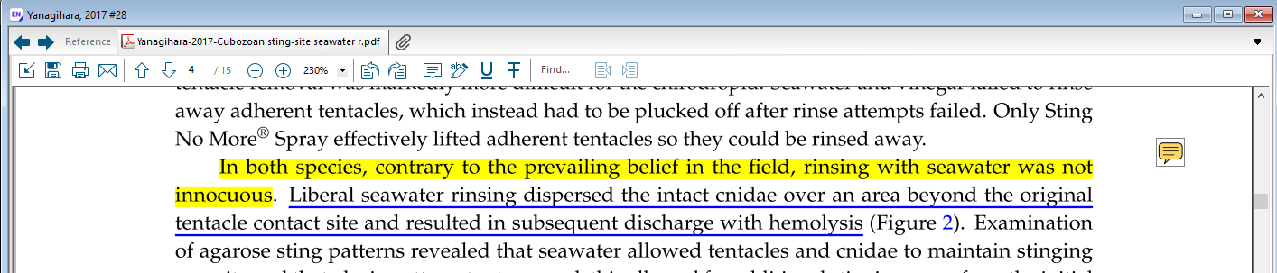 example of an annotated article, with highlighted and underlined passages