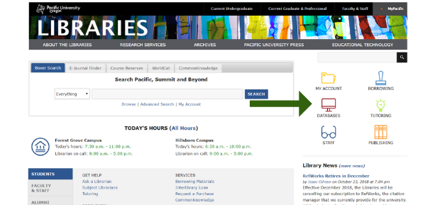 An image showing you how to get to the database list from the library homepage