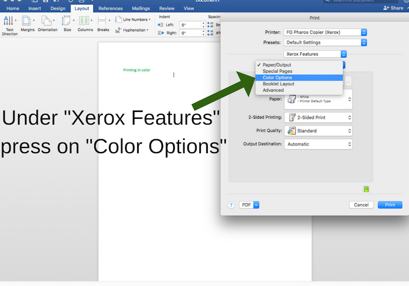 "Press on ""Color Options"" to print on library MACs"