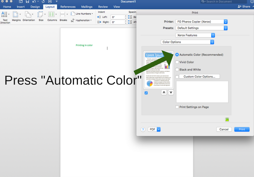"Select ""Recommended Color"" to print in color from a MAC"
