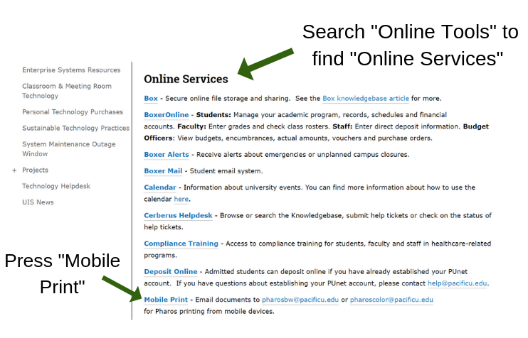 An image showing the Online Services page and the Mobile Printing link