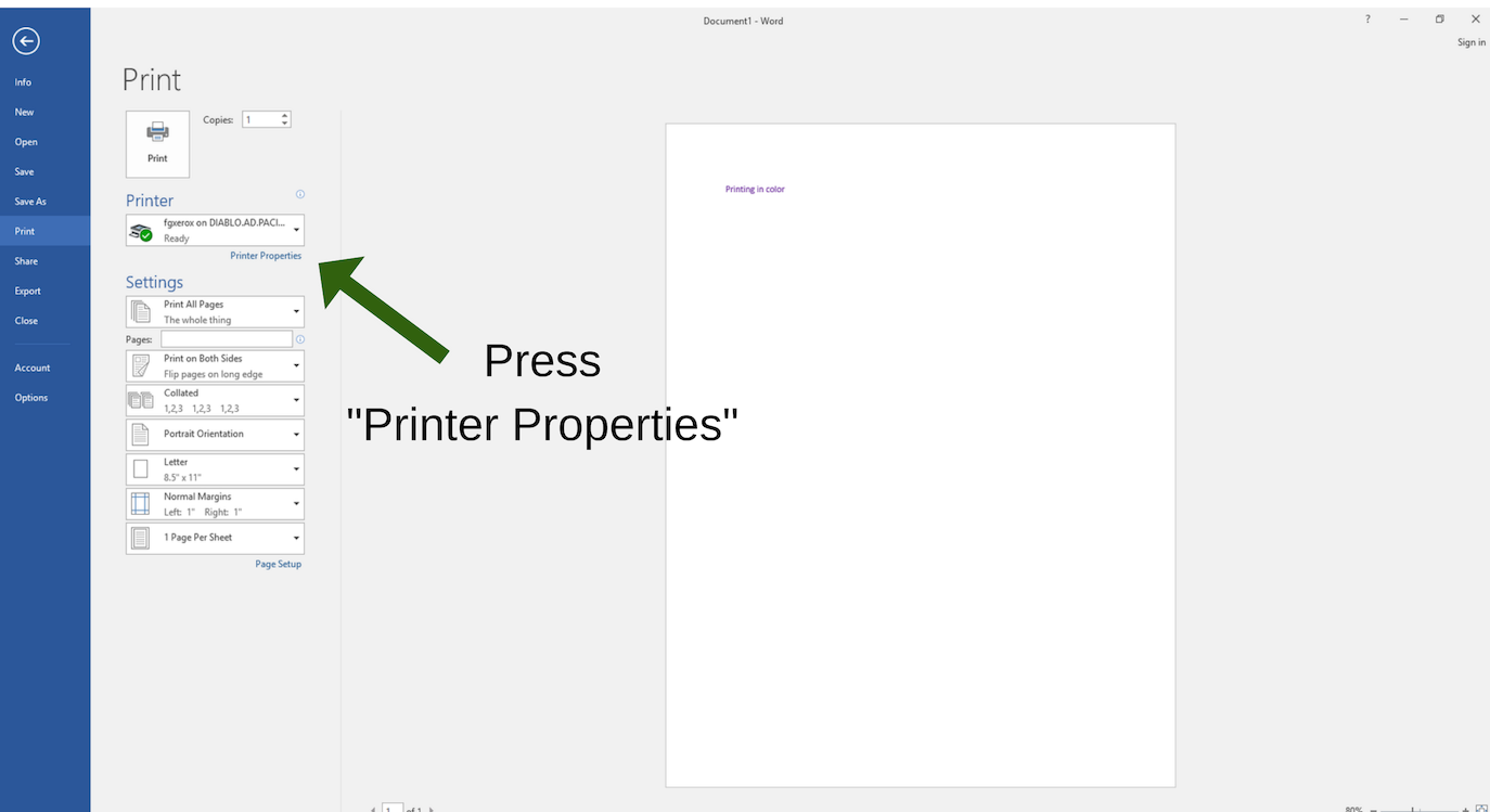 "Press ""Printer Properties"" to bring to printing menu on Library PC to print in color"