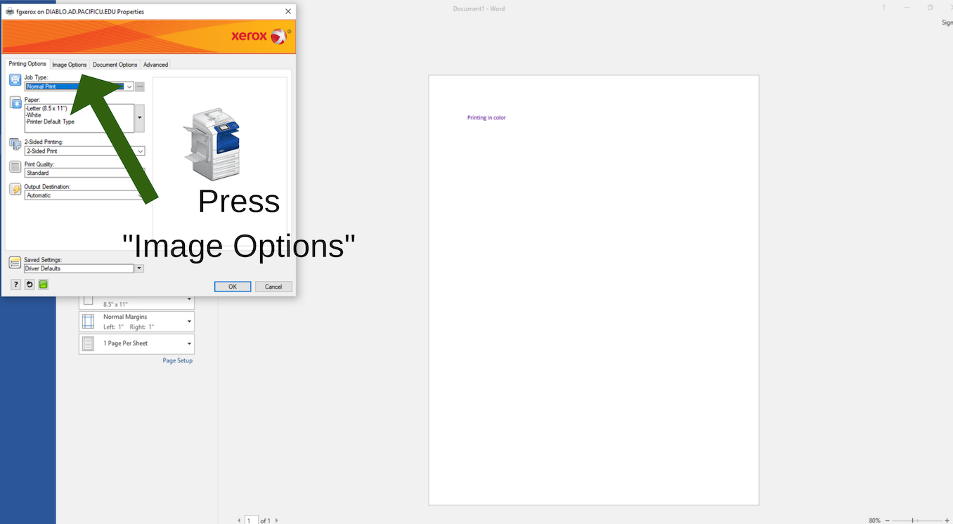 "Press ""Image Options"" as step two printing in color"