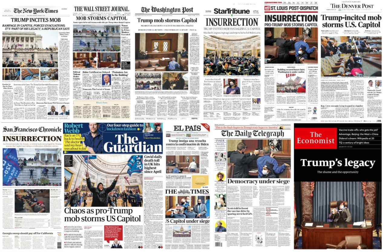newspaper front pages about event at capitol hill on January 6, 2021