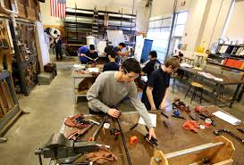 students in wood working shop