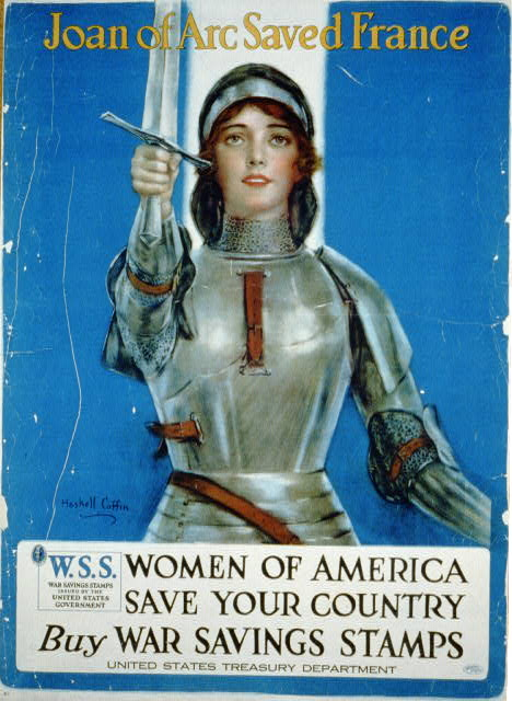 Joan of Arc saved France, Women of America buy savings bonds