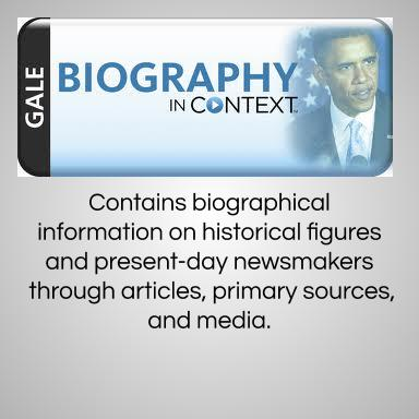 Gale Biography in Context contains biographical information on historical figures and present-day newsmakers through articles, primary sources, and media.