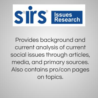 SIRS Issues Research. Provides background and current analysis of current social issues through articles, media, and primary sources. Also contains pro/con pages on topics.