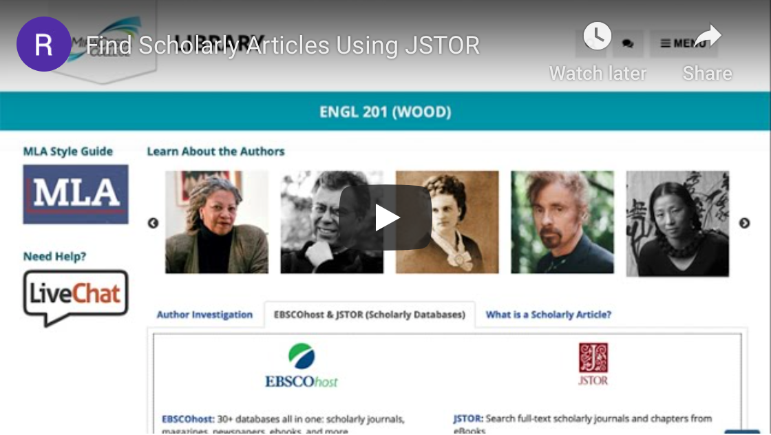Scholarly Articles with JSTOR