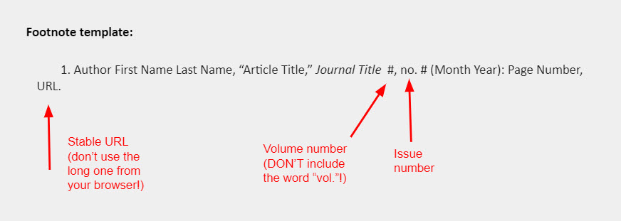 """Footnote template: 1. Author First Name Last Name, """"Article Title,"""" Journal Title  #, no. # (Month Year): Page Number, URL."""