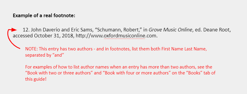 """Example of a real footnote: 12. John Daverio and Eric Sams, """"Schumann, Robert,"""" in Grove Music Online, ed. Deane Root, accessed October 31, 2018, http://www.oxfordmusiconline.com. [The example is accompanied by an note that reads: """"NOTE: This entry has two authors - and in footnotes, list them both First Name Last Name, separated by """"and""""  For examples of how to list author names when an entry has more than two authors, see the """"Book with two or three authors"""" and """"Book with four or more authors"""" on the """"Books"""" tab of this guide!""""]"""