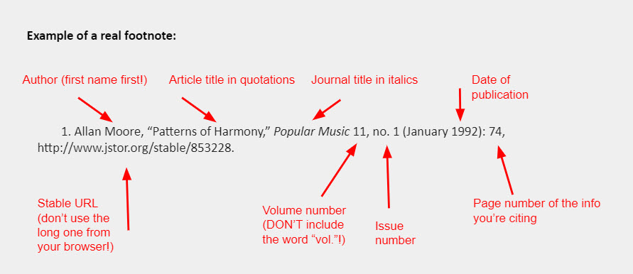 """Example of a real footnote: 1. Allan Moore, """"Patterns of Harmony,"""" Popular Music 11, no. 1 (January 1992): 74, http://www.jstor.org/stable/853228."""