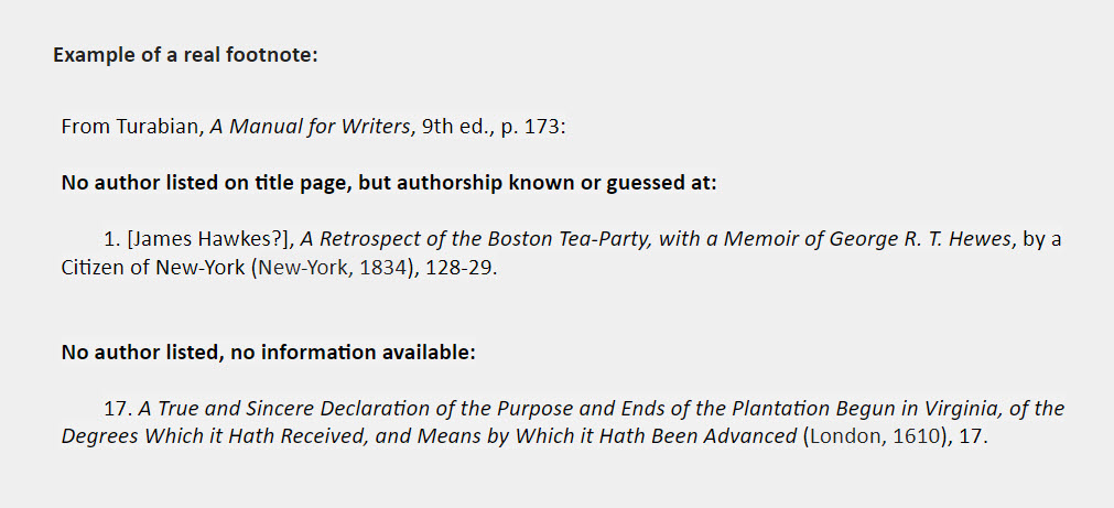 No author footnote examples: From Turabian, A Manual for Writers, 9th ed., p. 173:   No author listed on title page, but authorship known or guessed at:  1. [James Hawkes?], A Retrospect of the Boston Tea-Party, with a Memoir of George R. T. Hewes, by a Citizen of New-York (New-York, 1834), 128-29.   No author listed, no information available:  17. A True and Sincere Declaration of the Purpose and Ends of the Plantation Begun in Virginia, of the Degrees Which it Hath Received, and Means by Which it Hath Been Advanced (London, 1610), 17.
