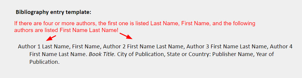 """Book four or more authors bibliography entry template: Author 1 Last Name, First Name, Author 2 First Name Last Name, Author 3 First Name Last Name, Author 4  First Name Last Name. Book Title. City of Publication, State or Country: Publisher Name, Year of  Publication. [Arrows are pointing toward the authors' names with a note that reads, """"If there are four or more authors, the first one is listed Last Name, First Name, and the following authors are listed First Name Last Name!""""]"""