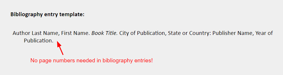 """Book one author bibliography entry template: Author Last Name, First Name. Book Title. City of Publication, State or Country: Publisher Name, Year of Publication. [also include is an arrow pointing to the end of the template with a note reading, """"No page numbers needed in bibliography entries!""""]"""