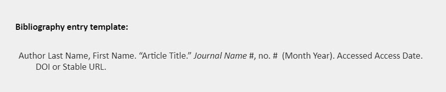 """Bibliography entry template: Author Last Name, First Name. """"Article Title."""" Journal Name #, no. #  (Month Year). Accessed Access Date. DOI or Stable URL."""