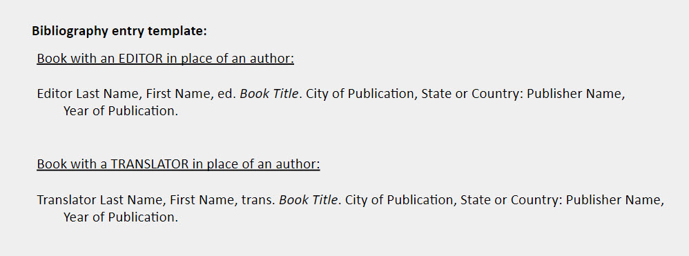 Editor or translator instead of author bibliography entry templates: Book with an EDITOR in place of an author:    Editor Last Name, First Name, ed. Book Title. City of Publication, State or Country: Publisher Name,  Year of Publication.    Book with a TRANSLATOR in place of an author:   Translator Last Name, First Name, trans. Book Title. City of Publication, State or Country: Publisher Name, Year of Publication.