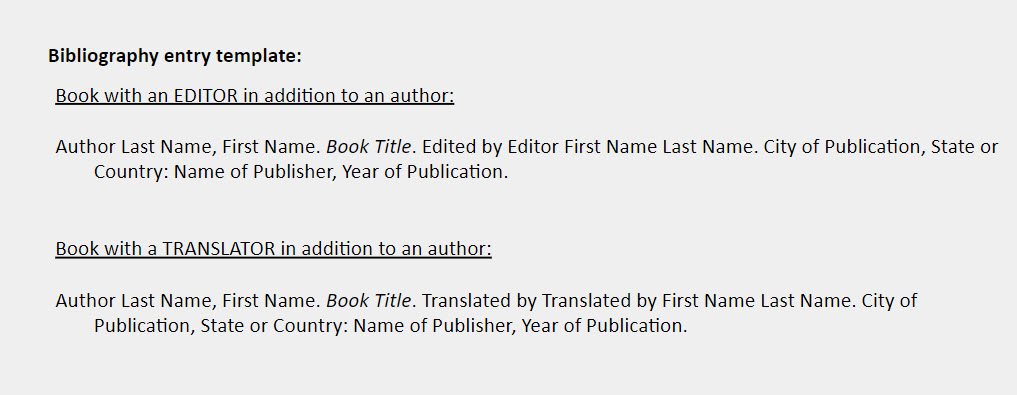 Editor or translator IN ADDITION TO author bibliography templates: Book with an EDITOR in addition to an author:    Author Last Name, First Name. Book Title. Edited by Editor First Name Last Name. City of Publication, State or Country: Name of Publisher, Year of Publication.    Book with a TRANSLATOR in addition to an author:   Author Last Name, First Name. Book Title. Translated by Translated by First Name Last Name. City of Publication, State or Country: Name of Publisher, Year of Publication.