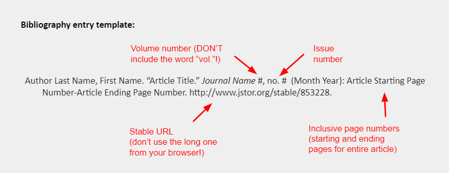 """Bibliography entry template: Author Last Name, First Name. """"Article Title."""" Journal Name #, no. #  (Month Year): Article Starting Page Number-Article Ending Page Number. http://www.jstor.org/stable/853228."""