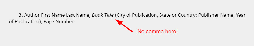 """An arrow points to the spot between the book title and the parentheses in an example footnote with a note that reads """"No comma here!"""""""