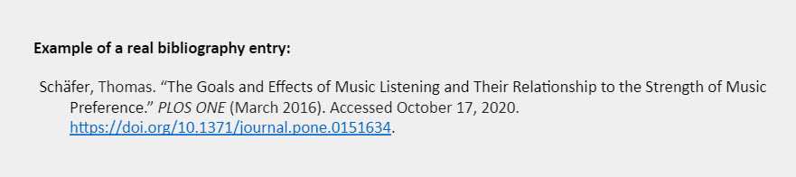 """Example of a real bibliography entry: Schäfer, Thomas. """"The Goals and Effects of Music Listening and Their Relationship to the Strength of Music Preference."""" PLOS ONE (March 2016). Accessed October 17, 2020. https://doi.org/10.1371/journal.pone.0151634."""