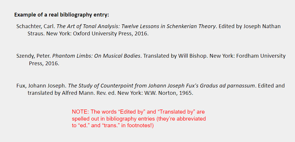 """Editor or translator IN ADDITION TO author bibliography examples: Schachter, Carl. The Art of Tonal Analysis: Twelve Lessons in Schenkerian Theory. Edited by Joseph Nathan Straus. New York: Oxford University Press, 2016.    Szendy, Peter. Phantom Limbs: On Musical Bodies. Translated by Will Bishop. New York: Fordham University  Press, 2016.    Fux, Johann Joseph. The Study of Counterpoint from Johann Joseph Fux's Gradus ad parnassum. Edited and translated by Alfred Mann. Rev. ed. New York: W.W. Norton, 1965. [Under the examples is a note that reads """"NOTE: The words """"Edited by"""" and """"Translated by"""" are spelled out in bibliography entries (they're abbreviated to """"ed."""" and """"trans."""" in footnotes!)""""]"""