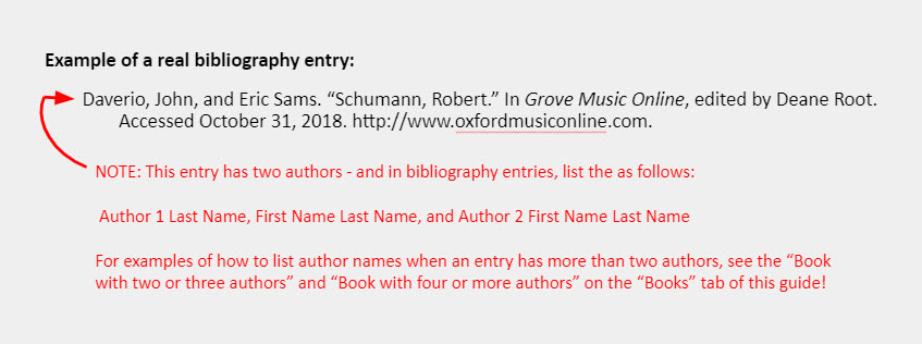 """Example of a real bibliography entry: Daverio, John, and Eric Sams. """"Schumann, Robert."""" In Grove Music Online, edited by Deane Root. Accessed October 31, 2018. http://www.oxfordmusiconline.com. [An arrow points to the names of the entry and is accompanied by a note that reads: """"NOTE: This entry has two authors - and in bibliography entries, list the as follows:   Author 1 Last Name, First Name Last Name, and Author 2 First Name Last Name  For examples of how to list author names when an entry has more than two authors, see the """"Book with two or three authors"""" and """"Book with four or more authors"""" on the """"Books"""" tab of this guide!""""]"""