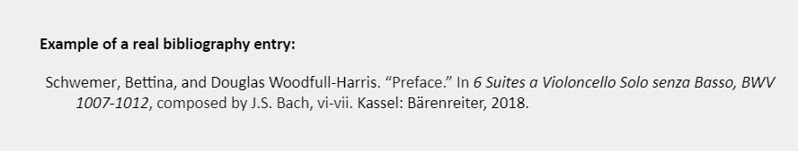 """Example of a real bibliography entry: Schwemer, Bettina, and Douglas Woodfull-Harris. """"Preface."""" In 6 Suites a Violoncello Solo senza Basso, BWV 1007-1012, composed by J.S. Bach, vi-vii. Kassel: Bärenreiter, 2018."""