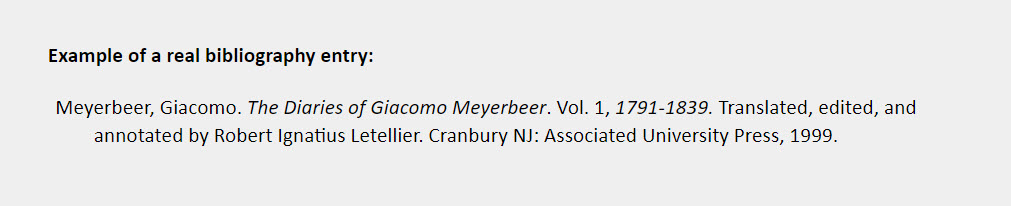 Specific volume in a multivolume work bibliography entry example: Meyerbeer, Giacomo. The Diaries of Giacomo Meyerbeer. Vol. 1, 1791-1839. Translated, edited, and annotated by Robert Ignatius Letellier. Cranbury NJ: Associated University Press, 1999.