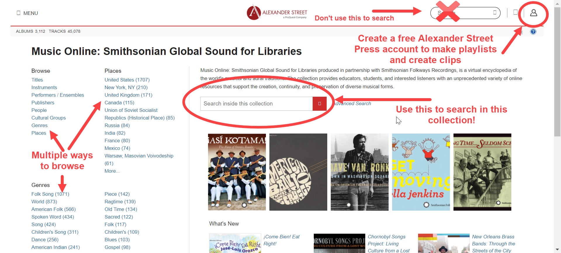 "Image of the Smithsonian Global Sound database, one of the Alexander Street Press suite of audio databases. The options for browsing by genre, place, performer, composer, and more are highlighted, and the search box in the middle of the page for searching the individual collection is circled (the search box at the top of the screen is crossed out because users should avoid using this). Lastly, the ""Sign in"" icon at the top right of the screen is circled."