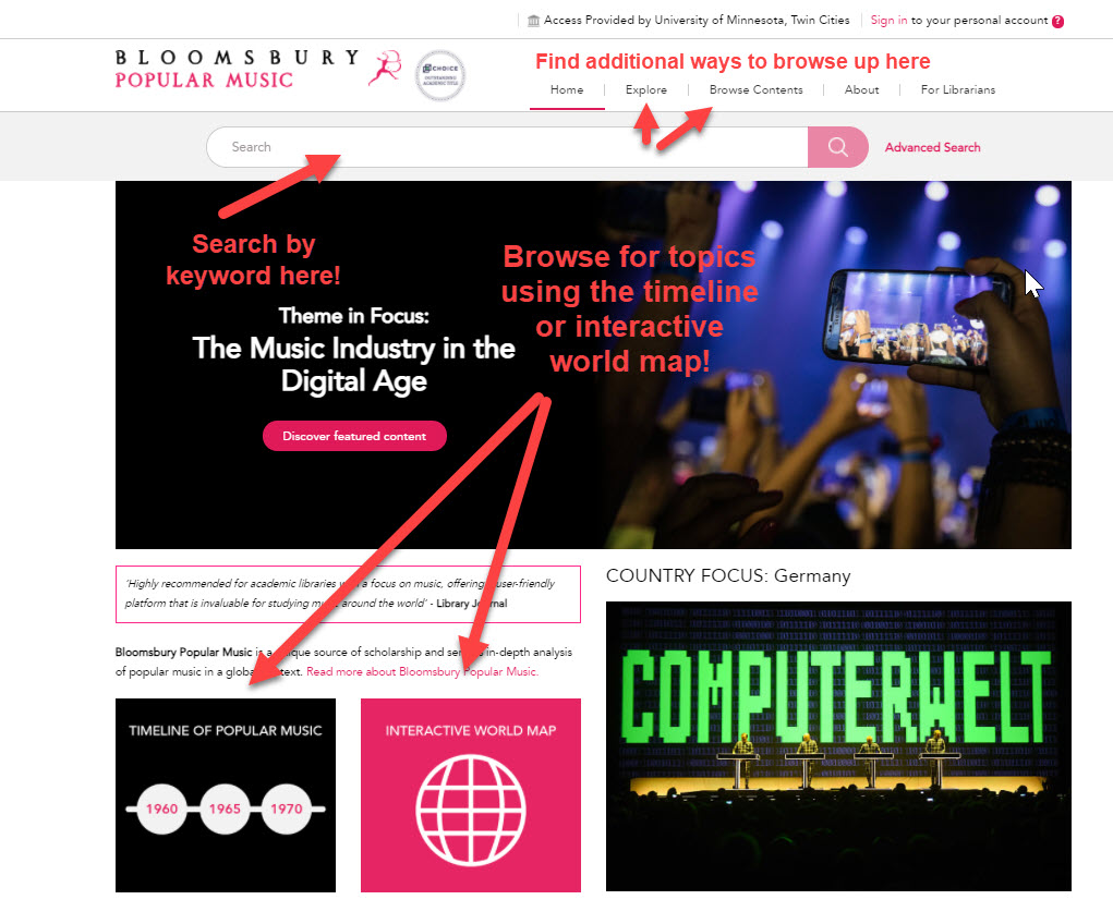 """A screenshot of the Bloomsbury Popular Music homepage with arrows pointing at several options for searching and the following notes: """"Search by keyword using the search box at the top of the page""""; """"Browse for topics using the timeline or interactive world map!""""; and Find additional ways to browse up here!"""" with arrows pointing to the """"Explore"""" and """"Browse Contents"""" tabs."""