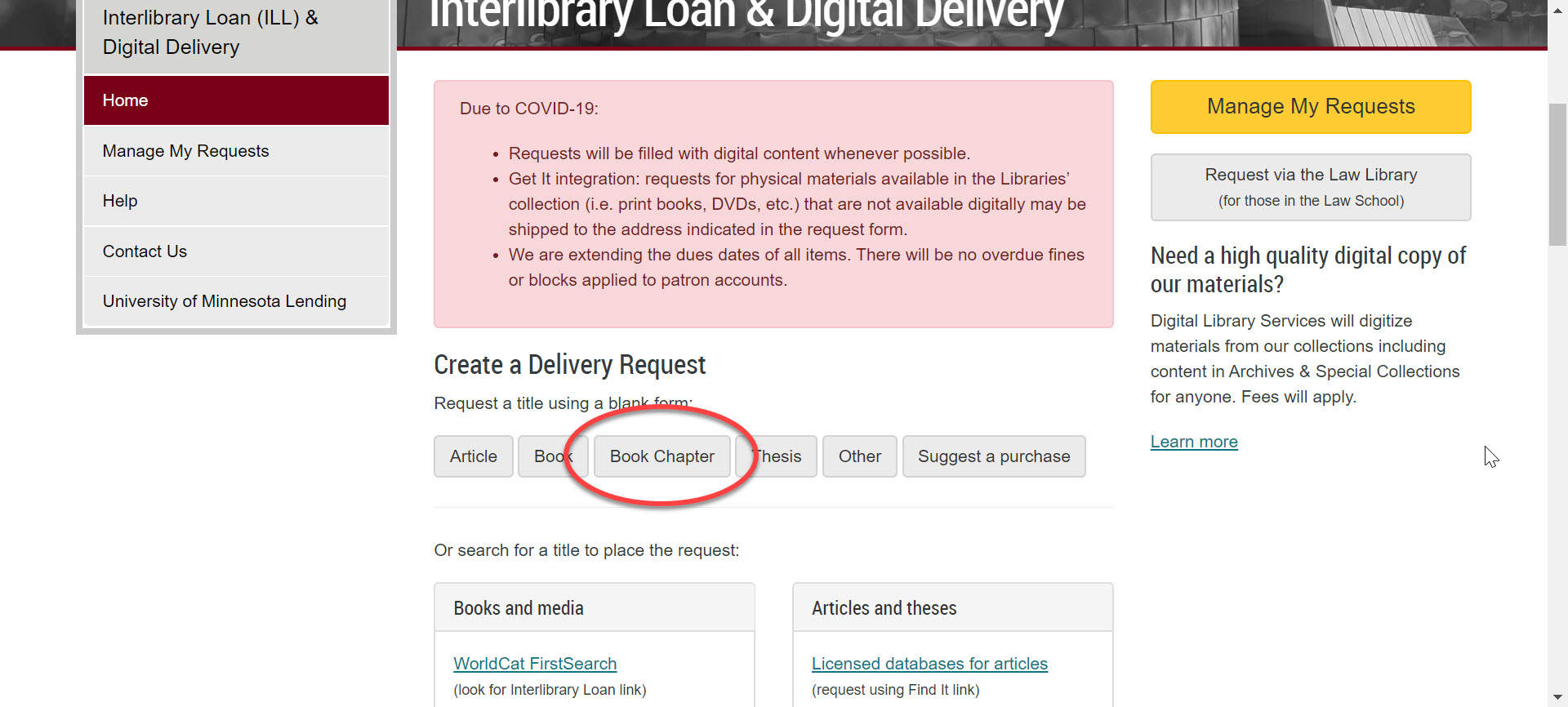 An image of the UMN Libraries Interlibrary Loan page (https://www.lib.umn.edu/interlibraryloan) with the place to click to select the form for requesting a scan of a Book Chapter circled.