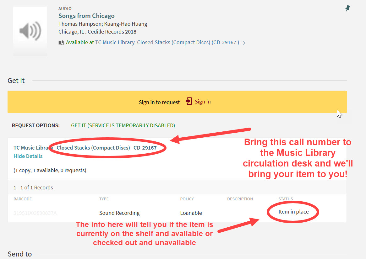 "An image from the UMN Libraries catalog highlighting where to find the call number and how to know if the item is available on the shelf (the catalog will say ""Item in place"") or unavailable because another user has it checked out (the catalog will say ""On loan"")."
