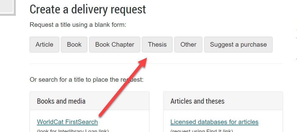 An image of the University Libraries Interlibrary Loan homepage with an arrow pointing to the link for the form needed to create a delivery request for a thesis or dissertation.