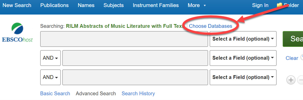 A screenshot of the interface that provides access to a number of databases like RILM, Music Index, International Bibliography of Theatre and Dance, and more. The link that provides the option to choose multiple databases to search simultaneously is circled.