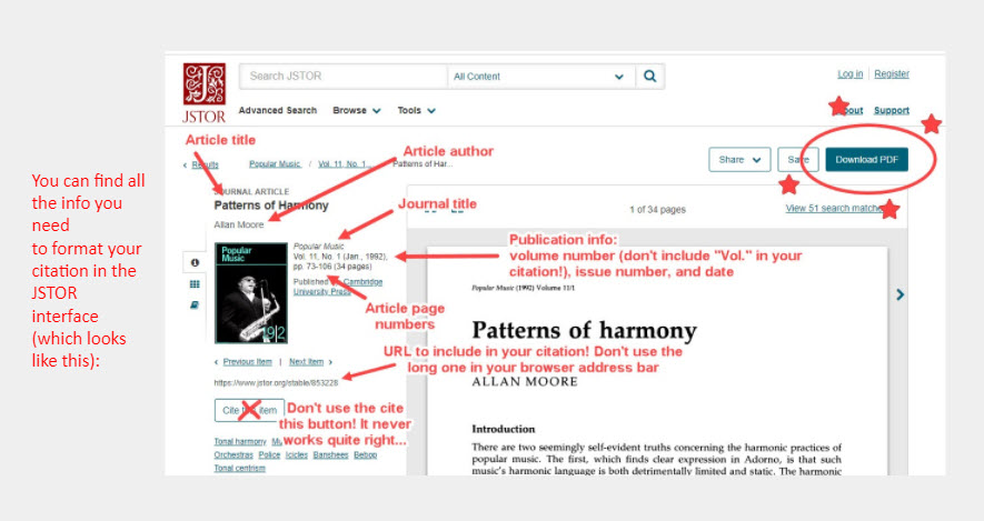 """A screenshot of the JSTOR interface with arrows pointing to the different pieces of information needed to format a citation with a note that reads: """"You can find all  the info you need  to format your  citation in the  JSTOR interface (which looks like this):""""]"""