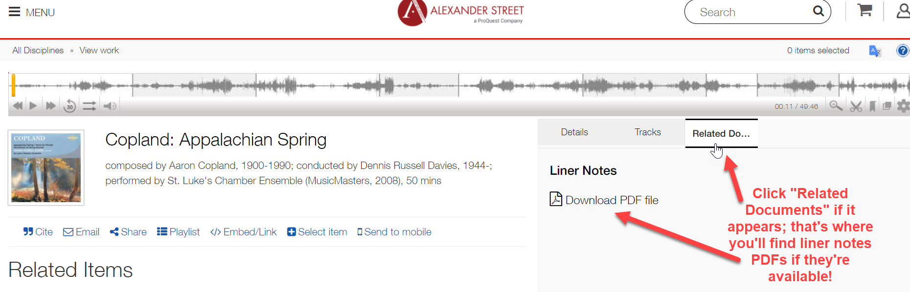 """An image of the Classical Music Library interface with arrows pointing toward the """"Related Documents"""" tab and the link for PDF versions of liner notes."""