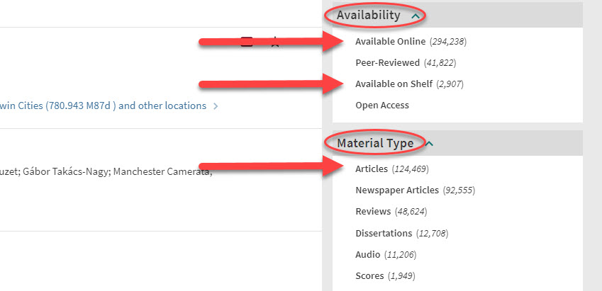 """An image of search results in the University Libraries catalog. The headings for the """"Availability"""" and """"Material Type"""" menus are circled in red. Red arrows point to the """"Available Online"""" and """"Available on Shelf"""" options under the """"Availability"""" menu. A red arrow points to the """"Article"""" option under the """"Material Type"""" menu."""
