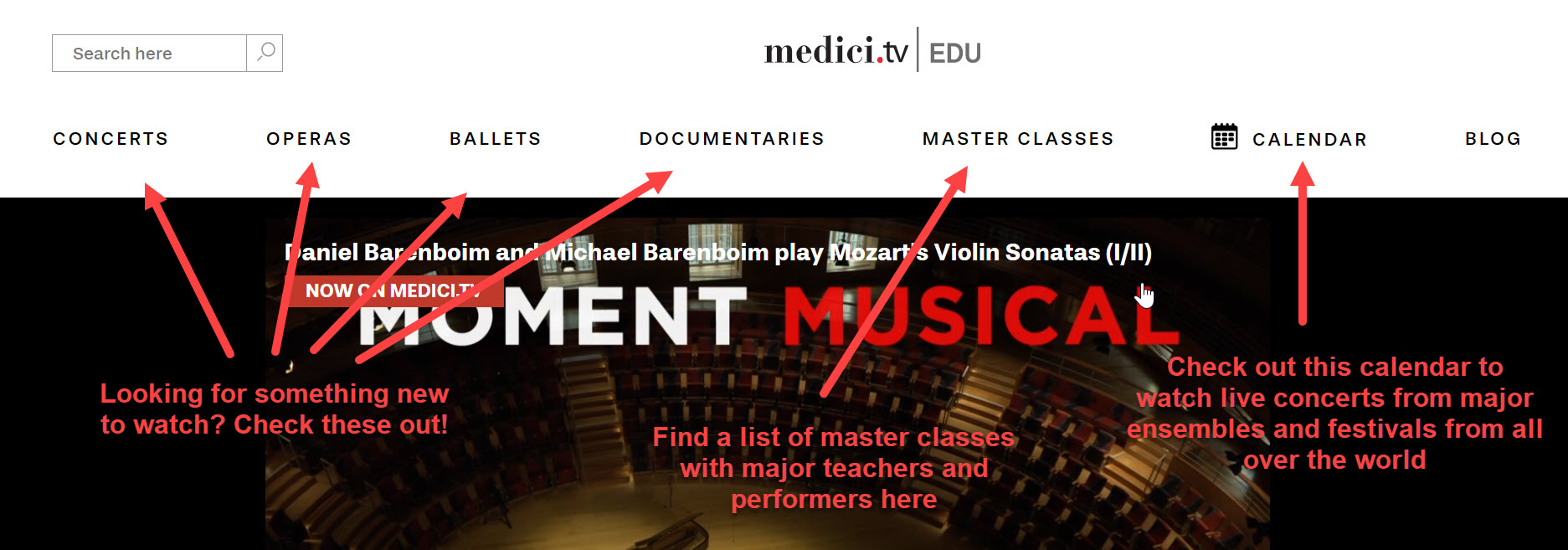 An image from the Medici.tv homepage highlighting the top level menu options of concerto, operas, ballets, documentaries, master classes, and calendar of live events.