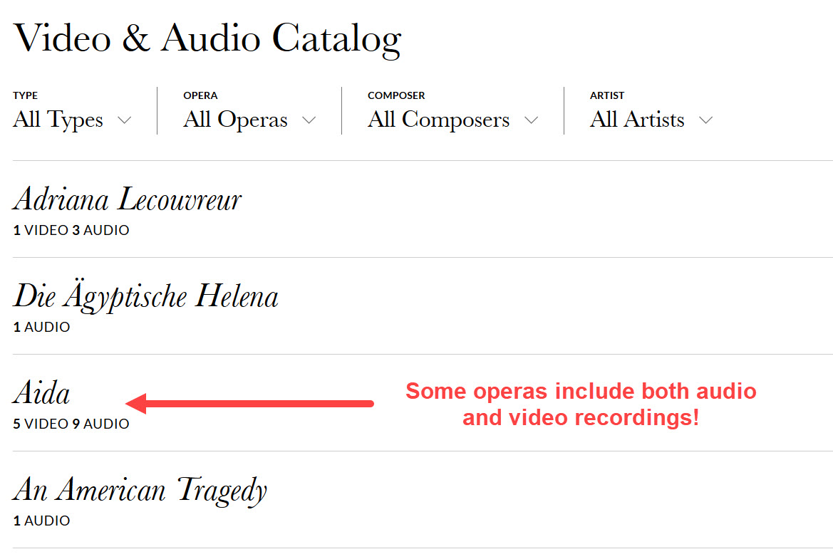 An image of the Met Opera on Demand homepage section that allows users to browse by title, composer, or performer.