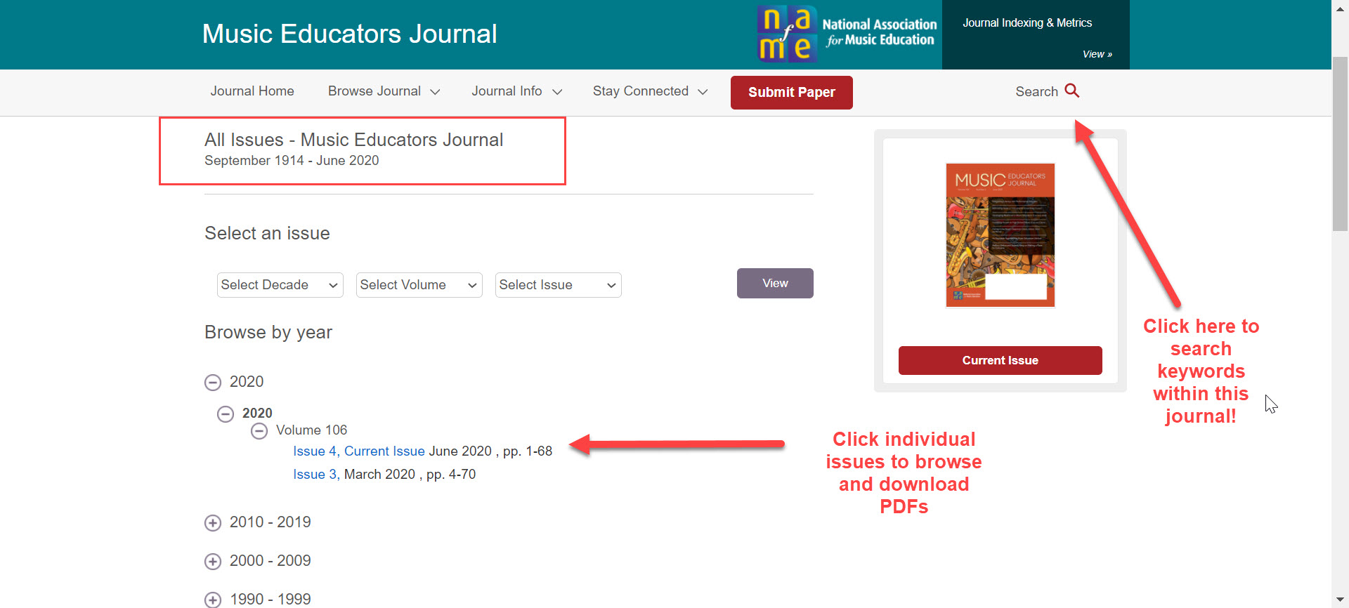 An image of the landing page for the Libraries SAGE Journals access to Music Educators Journal. The places to click for searching this title by keyword and browsing by issue are highlighted.