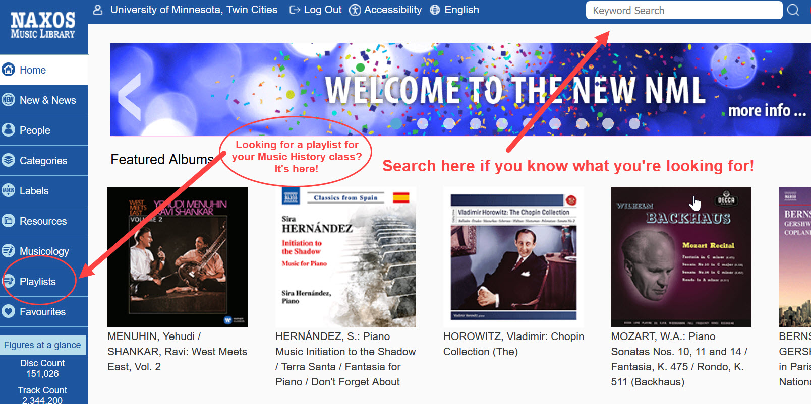 An image of the Naxos Music Library homepage with arrows pointing to the search box in the upper right corner and the Playlists link in the left-side menu for accessing Music History course playlists created by UMN faculty.