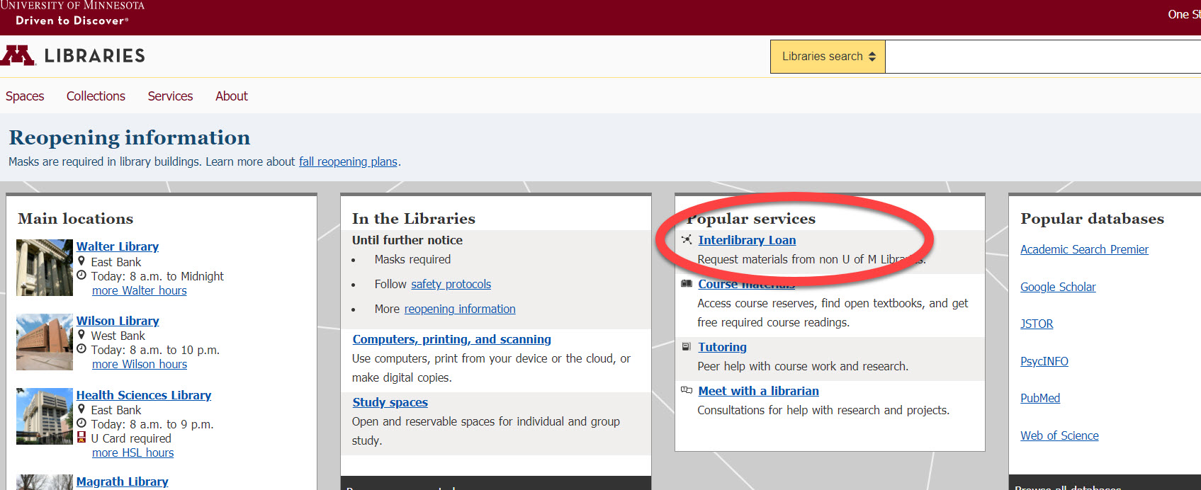 An image of the University Libraries website with a red circle around the link for the Interlibrary Loan link.