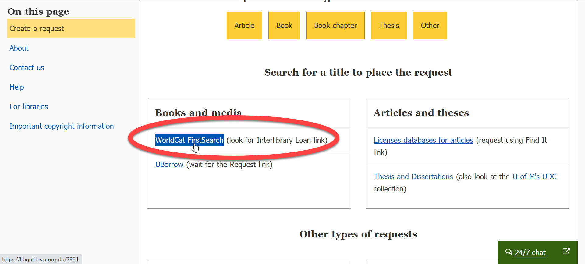 An image of the University Libraries Interlibrary Loan page with a red circle around the link for WorldCat.