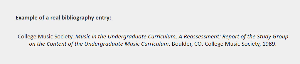 Example of a real bibliography entry: College Music Society. Music in the Undergraduate Curriculum, A Reassessment: Report of the Study Group on the Content of the Undergraduate Music Curriculum. Boulder, CO: College Music Society, 1989.