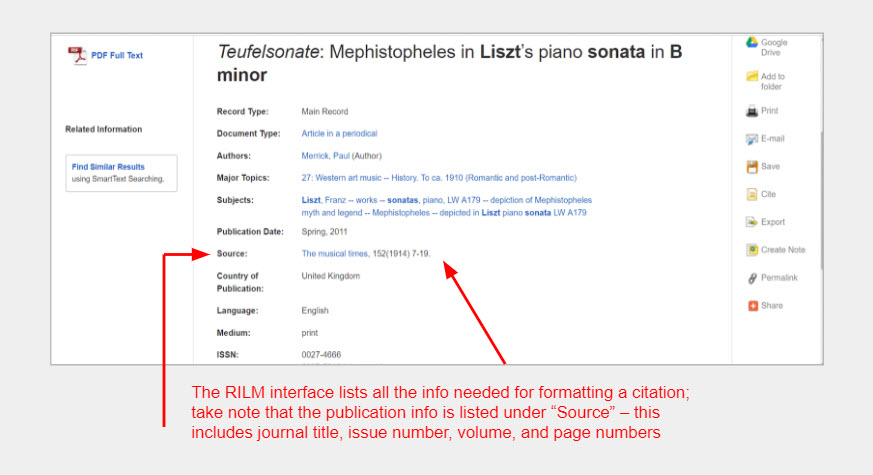 """An image of the RILM article record interface with arrows pointing toward the """"Source"""" field and a note that reads: """"The RILM interface lists all the info needed for formatting a citation; take note that the publication info is listed under """"Source"""" – this includes journal title, issue number, volume, and page numbers"""""""