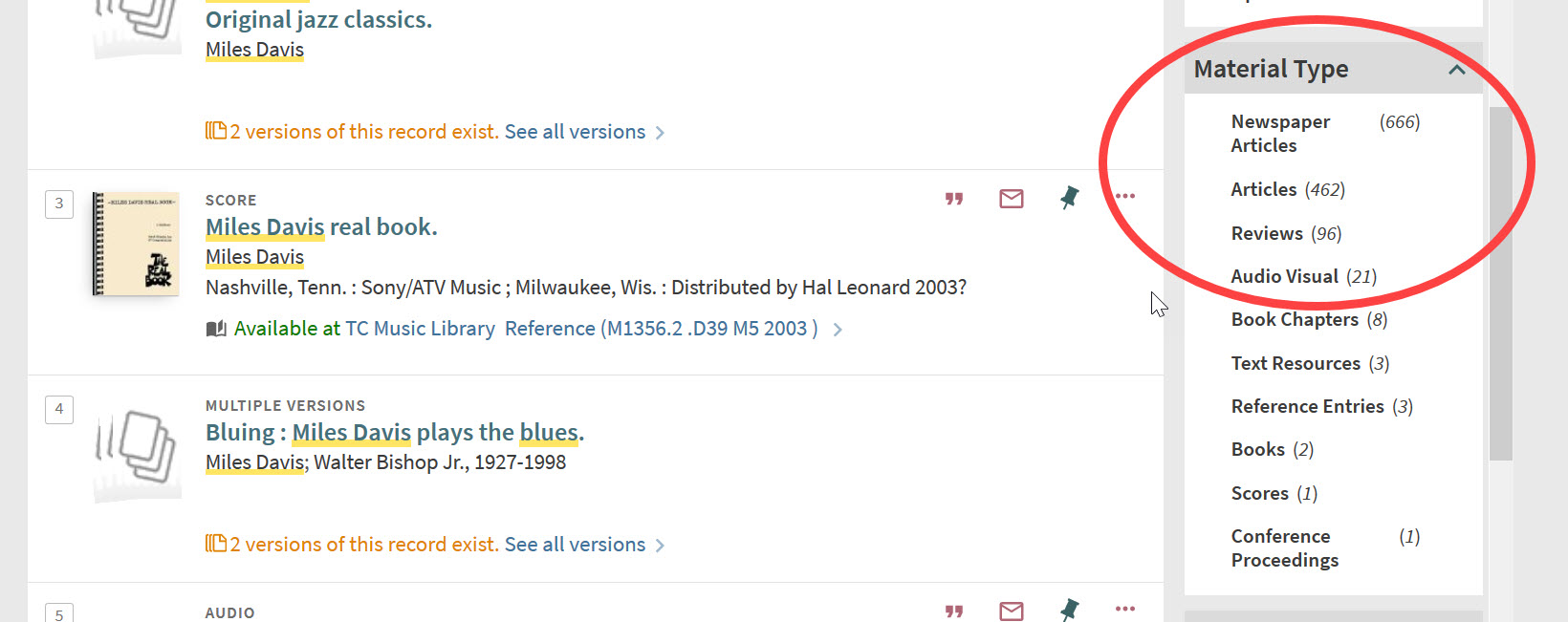 "An image of a set of search results from the Libraries catalog, with the ""Material Type"" limiter on the right side of the screen circled."
