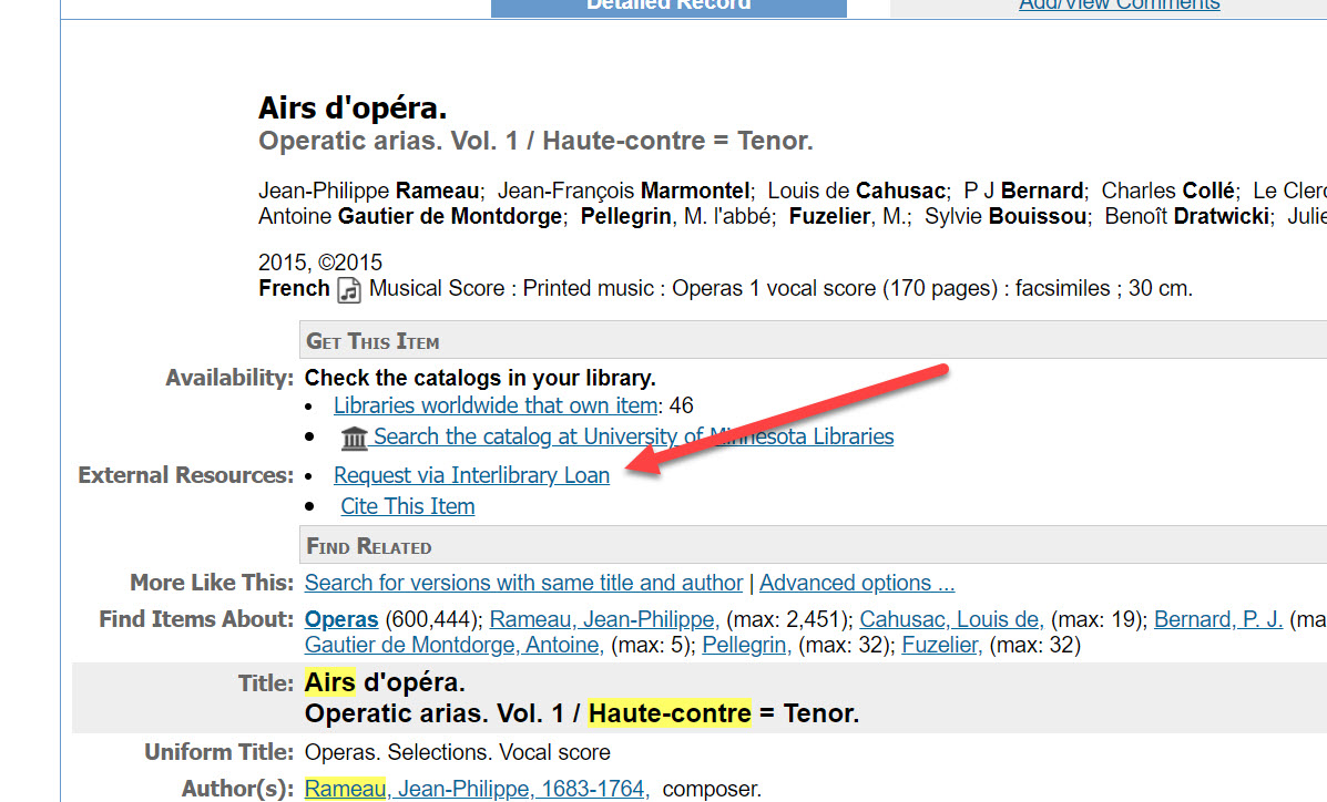 """An image of a WorldCat item record, with a red arrow pointing to the """"Request via ILL"""" link"""