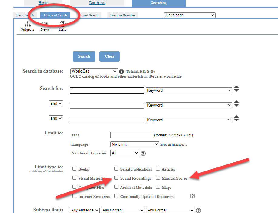 An image of the WorldCat Advanced Search interface. The Advanced Search tab is circled in red, and red arrows are pointing to the options to limit search results to Sound Recordings or Musical Scores.