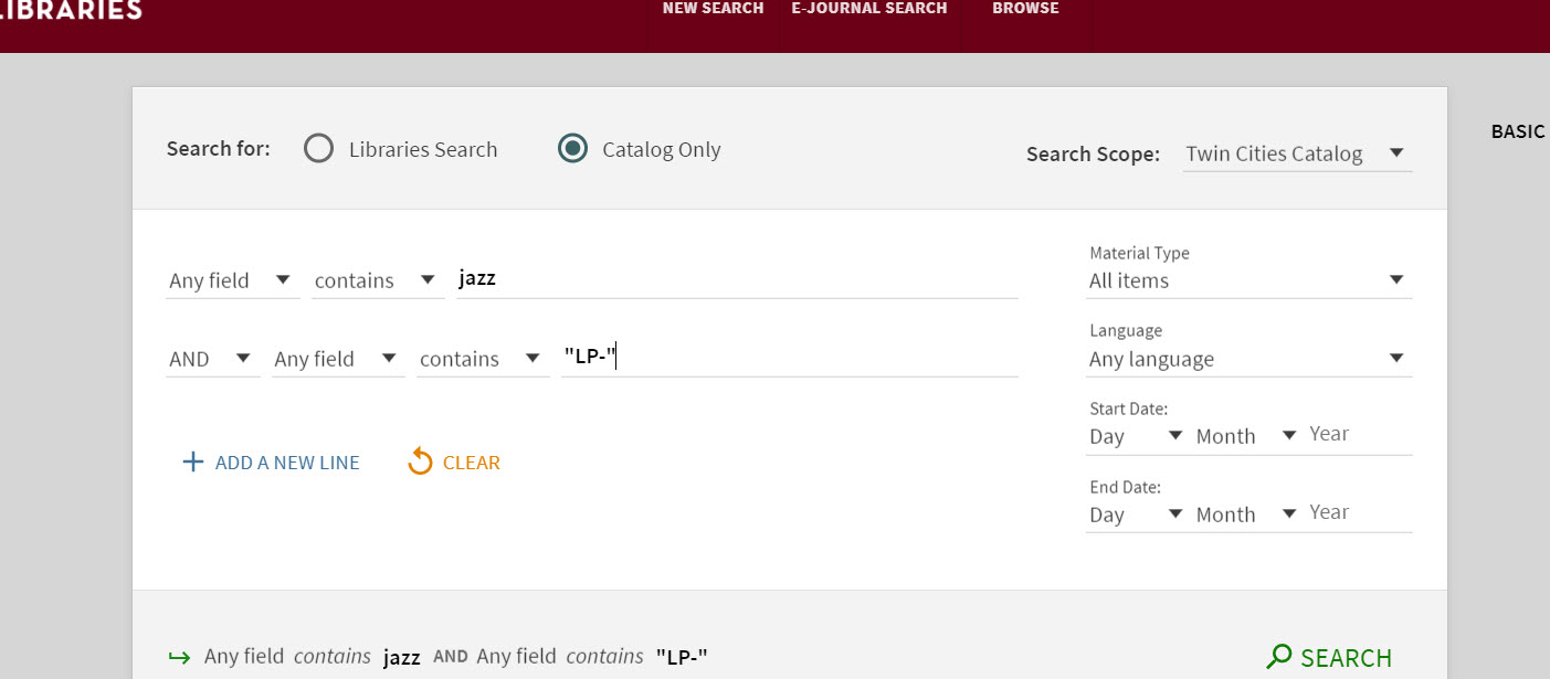 """A screenshot of the Advanced Search-Catalog Only interface, with the keyword """"jazz"""" entered on one line and """"LP-"""" on the next."""